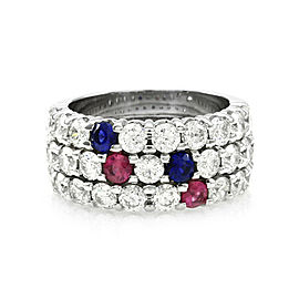 Three Row Diamond Band with Rubies and Sapphires in Gold