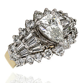 1.00ct Pear Cut Engagement Ring in 14K Yellow & White Gold