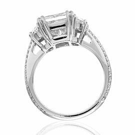 GIA Certified 3.80ct , VS1, H Princess Cut Diamond Engagement Ring in Platinum