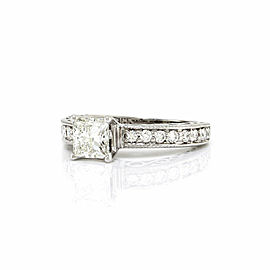 GIA Certified 1.02ct Princess cut Diamond Engagement Ring in 18K White Gold