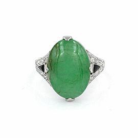 Vintage Jade Ring in Platinum