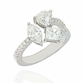 GIA Certified Multi Cut Diamond Fashion Ring in 18K White Gold
