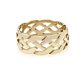 Lattice Motif Band Ring in Gold