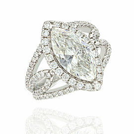 2.66ct Marquise Diamond Engagement Ring in 18K White Gold