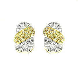 Diamond Huggie Hoop Earrings with Natural Yellow Diamonds in 18K Yellow Gold
