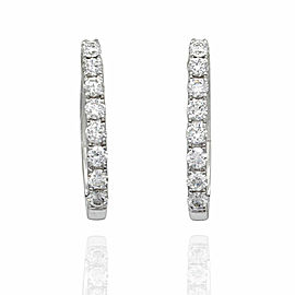 Pave Diamond Mini Hoop Earrings in 18K White Gold