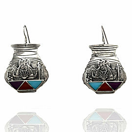 Southwestern Sterling Silver Stone Inlay Pottery Earrings