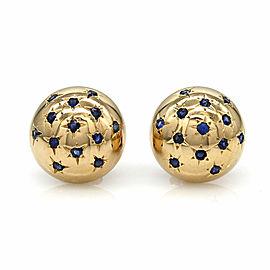 Sapphire Domed Earrings in Gold