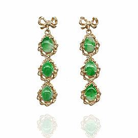 Jade Dangle Earrings in Gold