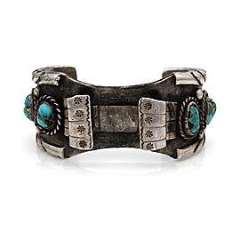 Vintage Navajo Handmade Heavy Sterling Silver Turquosie Watch Cuff Bracelet