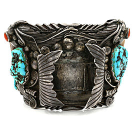 Huge Vintage Navajo Sterling Silver Turquosie Coral Claw Watch Cuff Bracelet