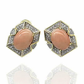 Coral and Diamond Earrings in Gold
