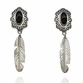 Southwestern Vera Jane Sterling Silver & Onyx Feather Earrings