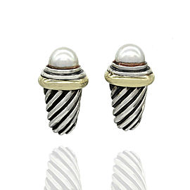 David Yurman Pearl Cable Earrings in Silver and Gold