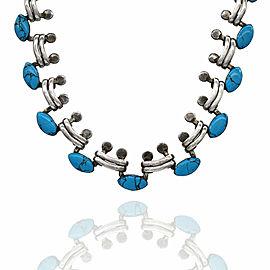 Vintage Mexican Sterling Silver Blue Enamel Necklace Bracelet Earrings Set