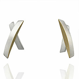 Modernist Earrings in Silver and Gold