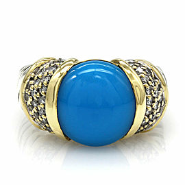 Yurman Turquoise and Diamond Ring in Silver and Gold