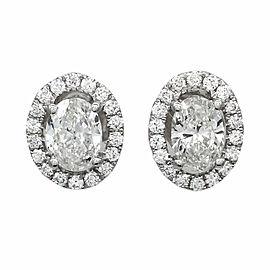 18k White Gold Oval Halo Dia Stud Earrings