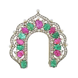 Platinum Carved Emerald Ruby Pearl Diamond Brooch