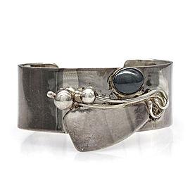 Israeli Designer Avi Soffer Sterling Silver Hematite Cuff Bracelet