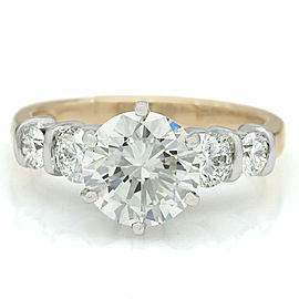 Platinum and 14ky Round Diamond Engagement Ring with 2.32ct Round Center