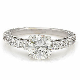 Single Row Diamond Ring with 1.37ct Round Center in 14kw