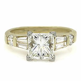 18ky Channel Set Round and Baguette Ring with 2.06ct Princess Center