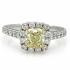 18kw Fancy Yellow Cushion Diamond Halo Ring with 1.35ct Cneter