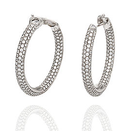 18kw Pave Style Inside-Out Diamond Hoop Earrings