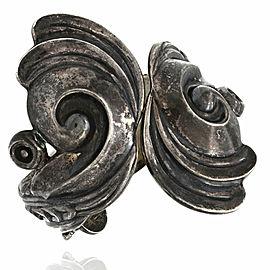 Vintage Los Castillo Mexican Large Sterling Silver Clamper Bangle Bracelet