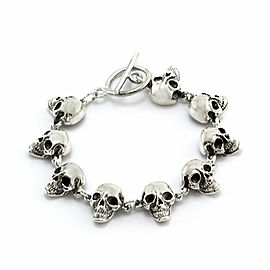 Sterling Silver Skeleton Head Bracelet