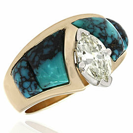 Marquise Diamond Solitaire Engagement Ring with Turquoise Inlay in 14ky