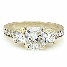 Multi-Shape Diamond Ring with 2.01ct Cushion Center in 14ky