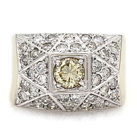 14ktt Wide Pave Gents Ring with 1.00ct Yellow Diamond Center