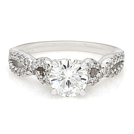 Diamond Twist Band Engagment ring with 1ct Center diamond in 14kw