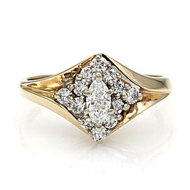 14KY Marquise and Round Diamond Ring