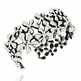 Sterling Silver Flower Motif Cuff Bracelet