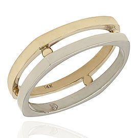 Gentlemans 14K 2 Tone Square Open Ring