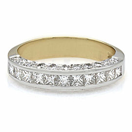 14K 2 Tone 3 Sided Diamond Ring