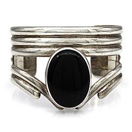 Designer REVE Sterling Silver Oval Onyx Cuff Bracelet
