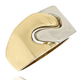 18K 2 Tone Swirl Bypass Ring