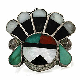 Zuni Sterling Silver Multi-Stone Inlay Sunface Ring