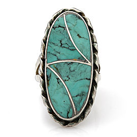 Navajo Norman Lee Sterling Silver & Turquoise Inlay Ring