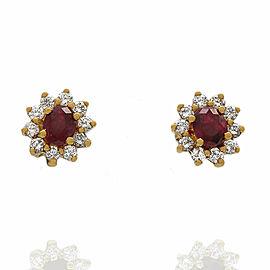 18KY Ruby and Diamond Halo Stud Earrings