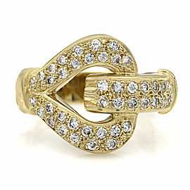 18KY Diamond Heart Shape Buckle Ring
