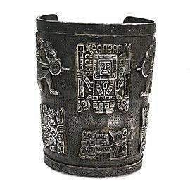 Vintage Handmade Peruvian Solid Sterling Silver Wide Cuff Bracelet