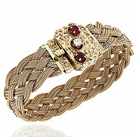 14KY Braided Mesh Bracelet with Ruby & Diamond Clasp