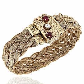 14KY Braided Mesh Bracelet with Ruby & Diamond Clasp