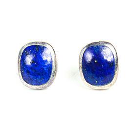 Lapis Earrings Lazuli - Oval Blue Sterling Silver Trim .925 Small - Fine Jewelry