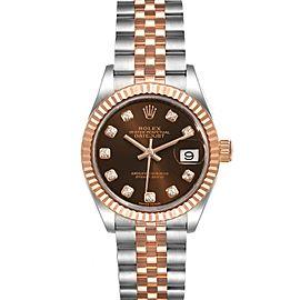 Rolex Datejust Steel Rose Gold Chocolate Diamond Watch 279171